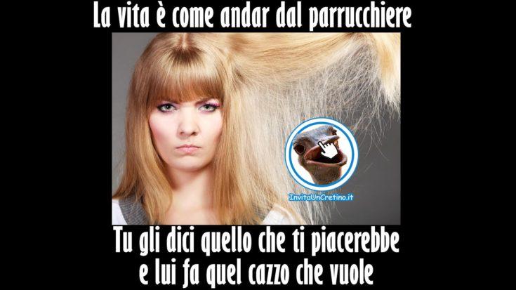 acconciatura divertente dal parrucchiere e la vita